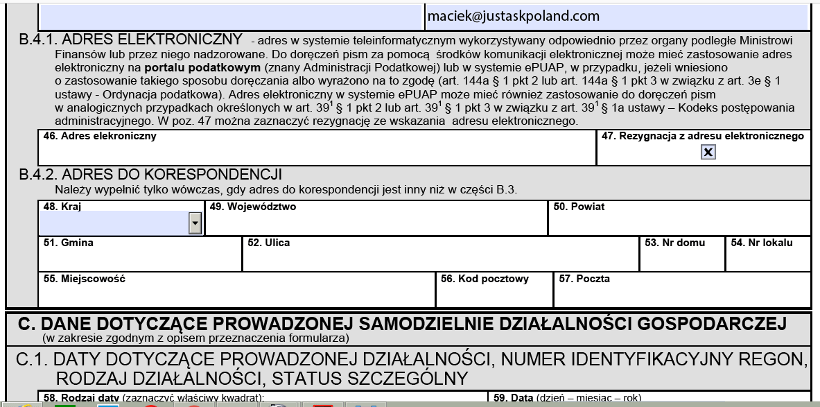 NIP number: Correspondence address