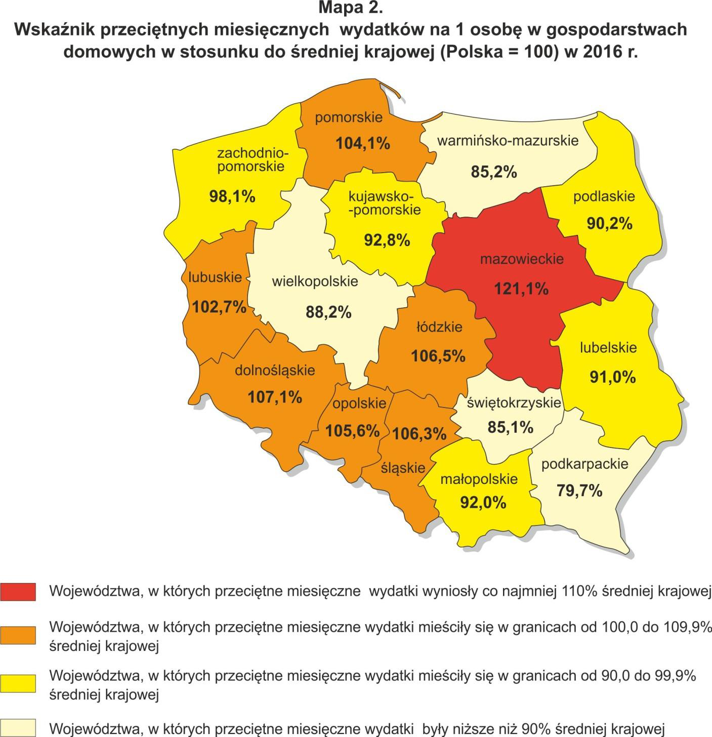 7a - map of average costs of living in Poland