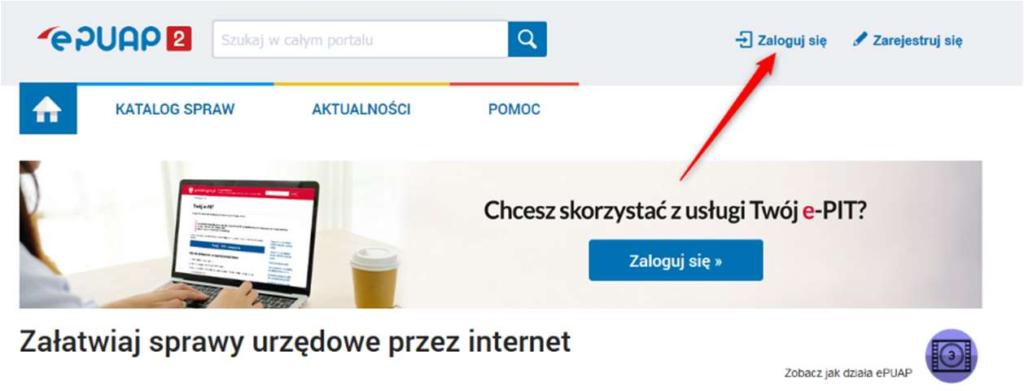 epuap login screenshot